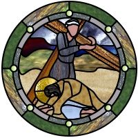 patterns for stained glass crosses | ... Cross-glass Station IX of the cross - Christ falls third time stained