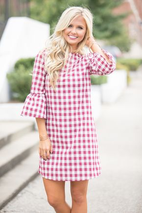 Preppy Paradise Gingham Dress Burgundy - The Pink Lily