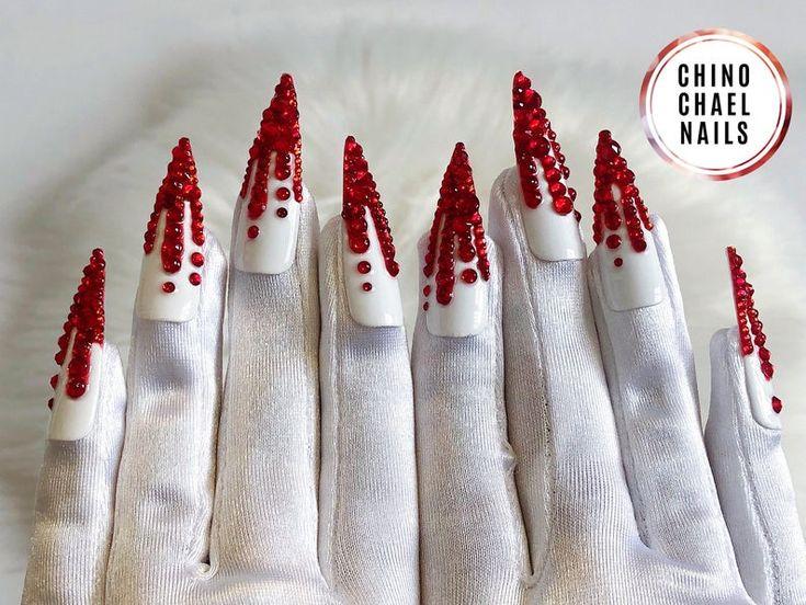 Dripping blood wrist length short white satin nail gloves ...