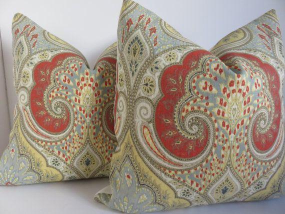 Kravet Pillow Cover -Paisley Pillow Cover - Latika Red Pillow - Yellow Pillow cover - Light Blue Pillow Cover - Latika Pillow -20x20-18x18