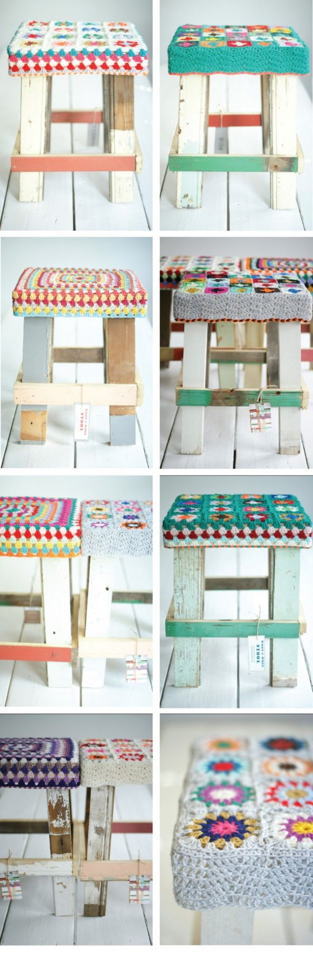 wood & wool stools - perfect scrap or pallet project. These are beautiful.