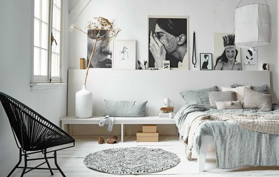 77 Gorgeous Examples of Scandinavian Interior Design Muted-blue-Scandinavian-bedroom