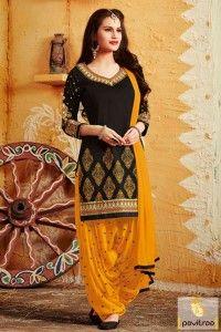 Black Color Party Wear Punjbai Salwar Kameez #salwarsuit, #punjabisuit more: http://www.pavitraa.in/catalogs/designer-punjabi-suits-for-party/?utm_source=rn&utm_medium=pinterestpost&utm_campaign=15jun