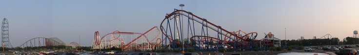 Six Flags Great Adventure skyline. From left to right, Kingda Ka, El Toro, Rolling Thunder, Scream Machine,Superman, The Chiller and Nitro.
