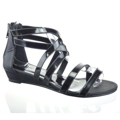 Kickly - Scarpe da Moda sandali infradito Gladiatore alla caviglia donna flashy Tacco zeppa 3.5 CM - Nero T 38 - UK 5 in OFFERTA su www.kellieshop.com Scarpe, borse, accessori, intimo, gioielli e molto altro.. scopri migliaia di articoli firmati con prezzi da 15,00 a 299,00 euro! #kellieshop Seguici su Facebook > https://www.facebook.com/pages/Kellie-Shop/332713936876989