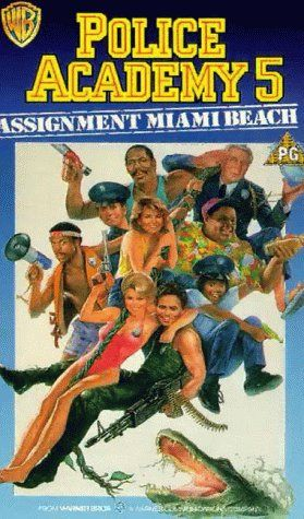PLICE ACADEMY 5: ASSIGNMENT: MIAMI BEACH; Directed by Alan Myerson.  With Bubba Smith, David Graf, Michael Winslow, Leslie Easterbrook. The old Commandant Lassard, leader of the Police Academy (1984), goes to Florida to receive an award. In the city arrives also the cynic Captain Harris who wants to take Lassard's job. Harris wants to place himself in a favourable light in front of the high military hierarchy but, at the airport, Lassard exchanges his bag with another one...