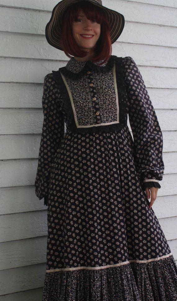 Vintage 70s Gunne Sax Dress Black Floral Print Cotton by soulrust, $79.99