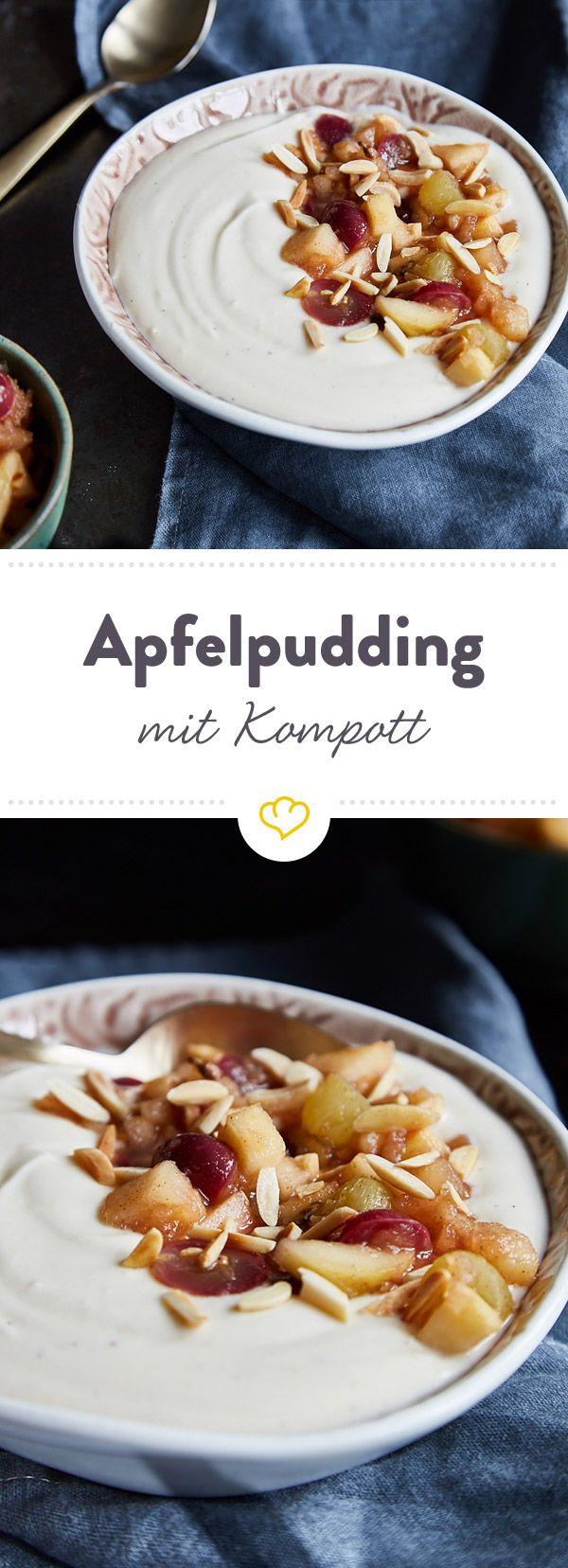 Tschüss Fertigpudding, hallo sahniger Apfelpudding! Warmer Kompott aus Herbstfrüchten macht das köstliche Dessert zu einem echten Liebling der Saison.