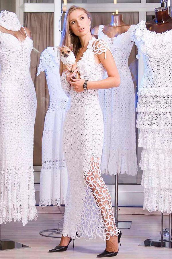 фото свадебных платьев связанных крючком