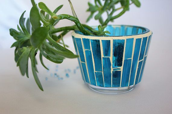 Stained glass mosaic pot for many uses Iris blue clear glass