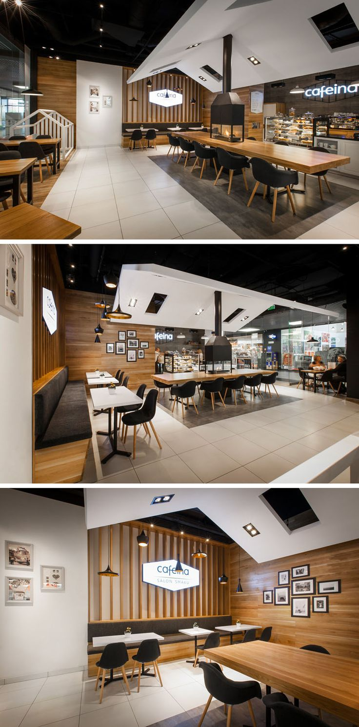 This cafe has a modern style and a cozy feel thanks to the centrally located fireplace and comfortable seating.