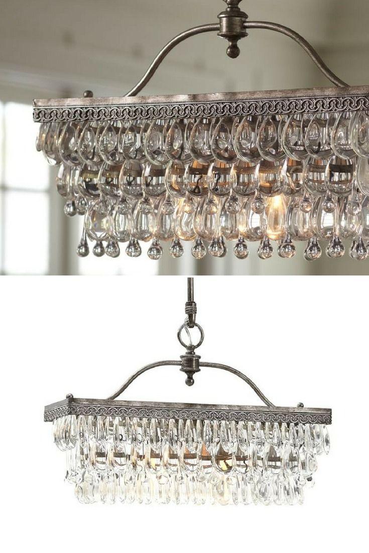 Clarissa Rectangular Glass Drop Chandelier Crystal Chandelier