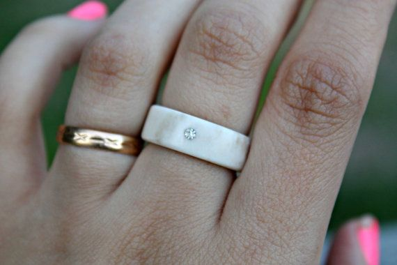 Simplicity antler ring with a tiny crystal by NORDICJEWELRY
