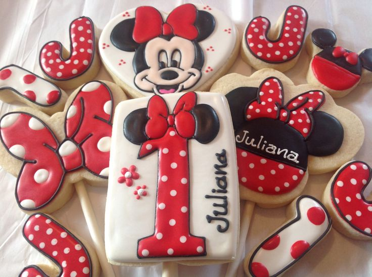 Minnie Mouse Cookies~                      By   sugarbyjulie, red, black, mouse ears, polka dot, bows, number, letters, birthday