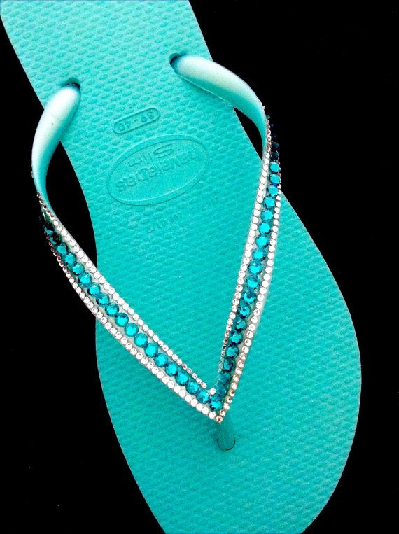 8dae20776813e0 Havaîanas Slim Swarovski Flip Flops Turquoise Teal Green and Ice Blue Slim  Sophisticate design Glass Slippers