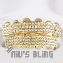 14k Gold Iced Out GRILLZ 6 Row CZ Top Bottom Set Bling Teeth Caps Hip Hop(China (Mainland))