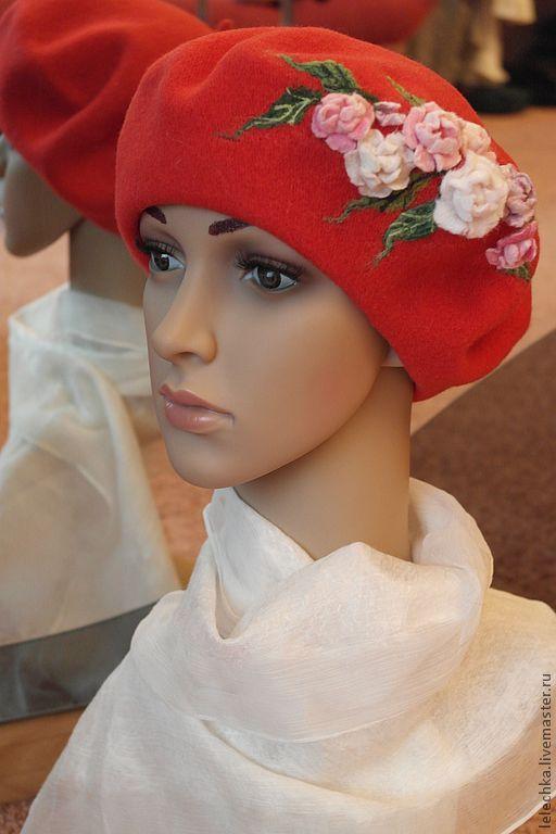 """Купить Берет """"Красные россыпи"""" - цветочный, берет, головной убор, шапка, шляпка, Аксессуары handmade"""