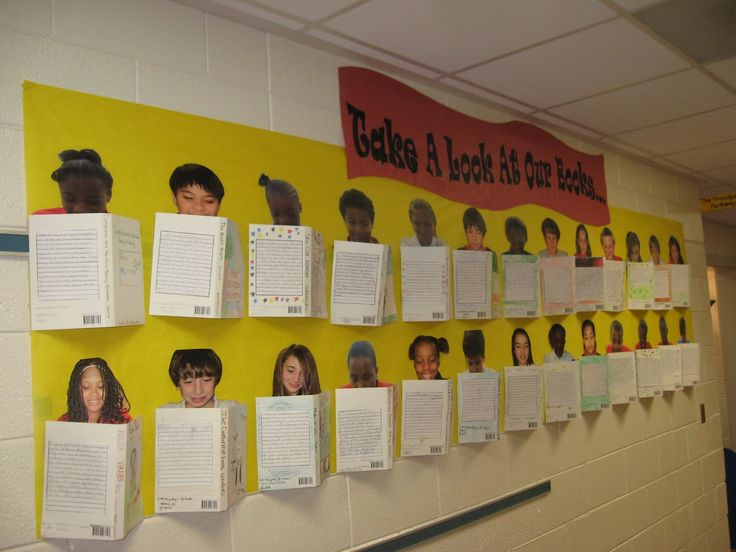 "cool way to display book reports-I would do this first and say "" take a look at our first book reports for the year"""