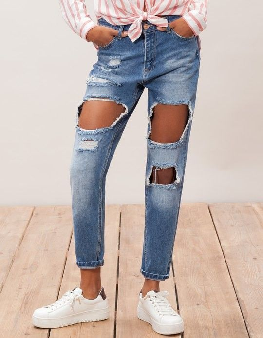 pantalon denim mom fit délavé bleu