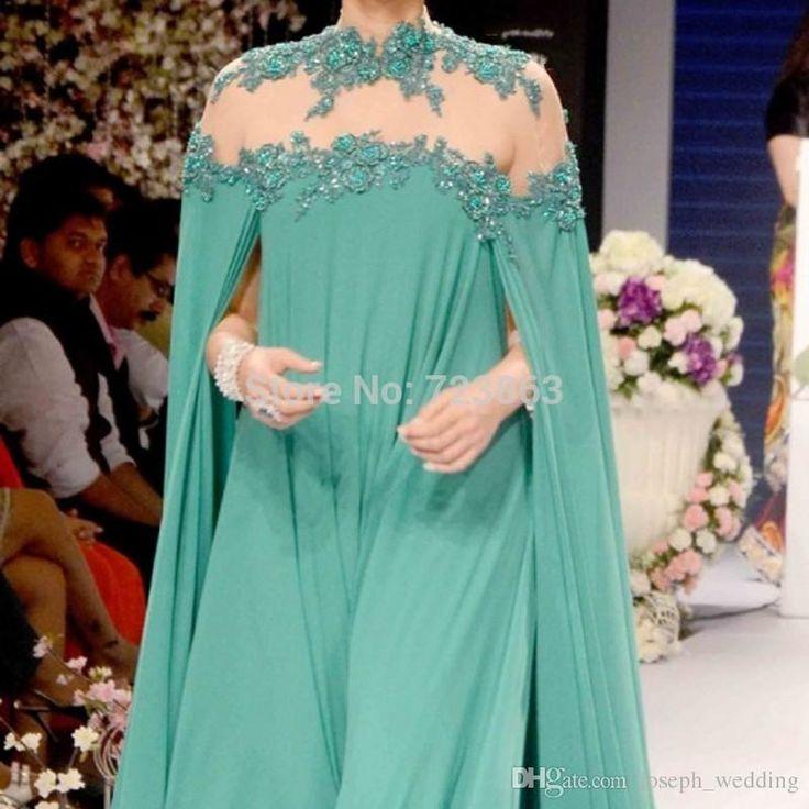 India Sarees Green Evening Dresses High Neck Backless Appliques Robe De Soiree A Line Evening Dress Vestido De Festa