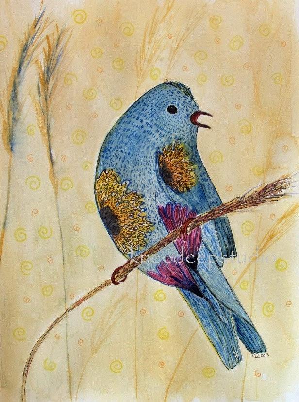 Garden Bird watercolor painting 9x12 original fine art modern whimsical blue home decor