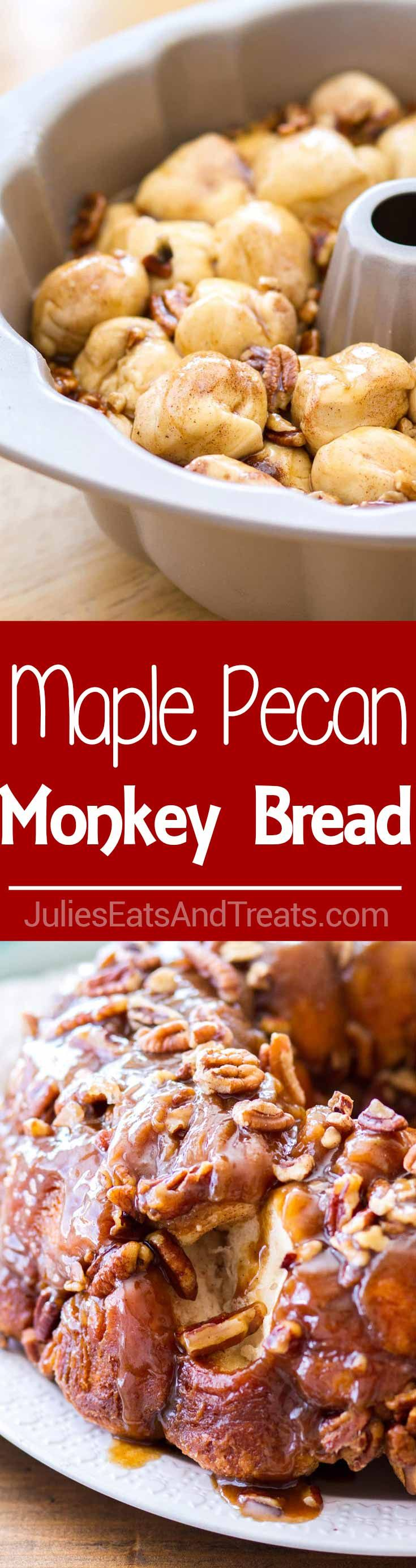 Maple Pecan Monkey Bread ~ Homemade Monkey Bread made with biscuits, baked in a maple pecan caramel sauce! Makes the best fall breakfast recipe, and a delicious Thanksgiving brunch recipes!  via @julieseats #monkeybread #breakfast