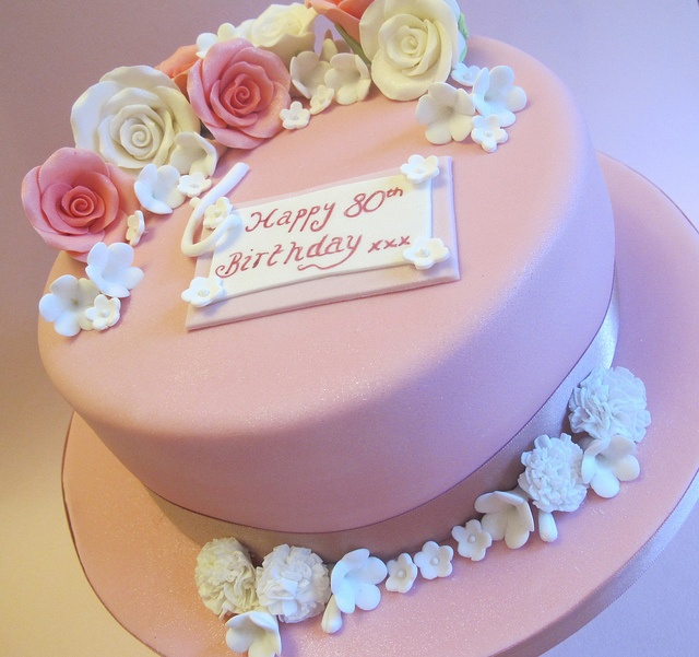 80th birthday cake by Vintage house Bakery, via Flickr.