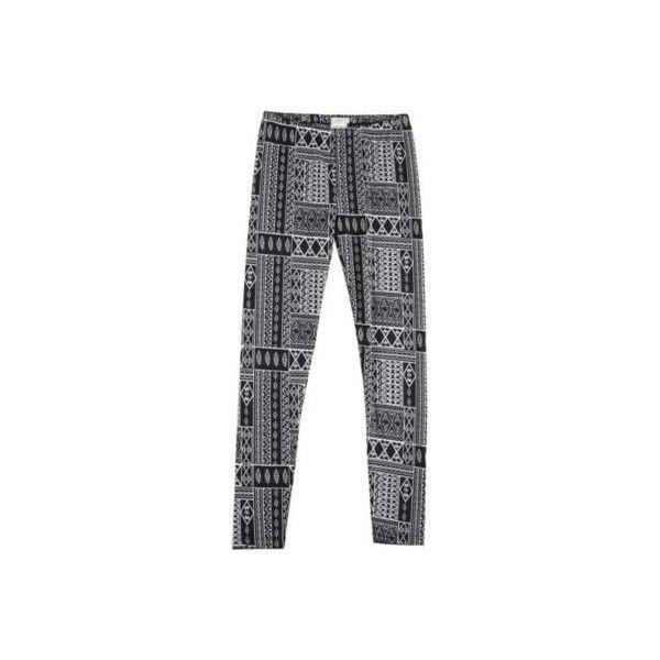 Poof Juniors Geo Aztec Print Leggings ($12) ❤ liked on Polyvore featuring pants, leggings, aztec-print pants, aztec pants, geometric leggings, stretch waist pants and aztec patterned leggings