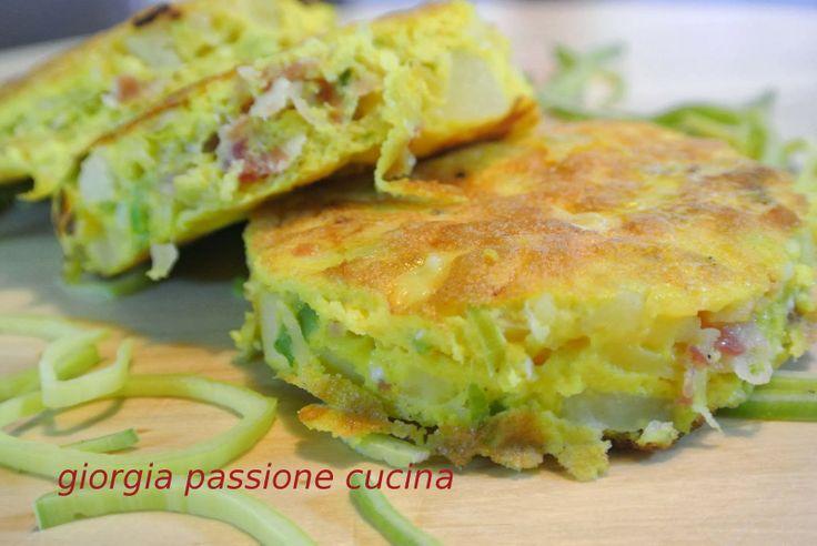 #giorgiapassionecucina: #tortilla con #patate, #porro e #pancetta