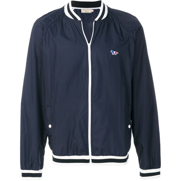 Maison Kitsuné embroidered logo bomber jacket (8,455 THB) ❤ liked on Polyvore featuring men's fashion, men's clothing, men's outerwear, men's jackets, blue, men's embroidered bomber jacket, mens blue jacket, mens embroidered jacket, mens polyester jackets and mens polyester bomber jacket