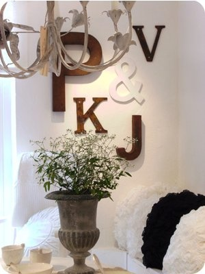 Love the idea of using the initials of everyone in our family on a wall. Special!