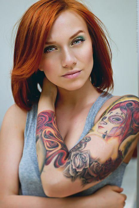 Always want a full sleeve tat just like this but with a pinup rather the candy skull chick (which is still gorgeous ) I love when a tattoo artist can actually tat a beautiful non-distorted face.