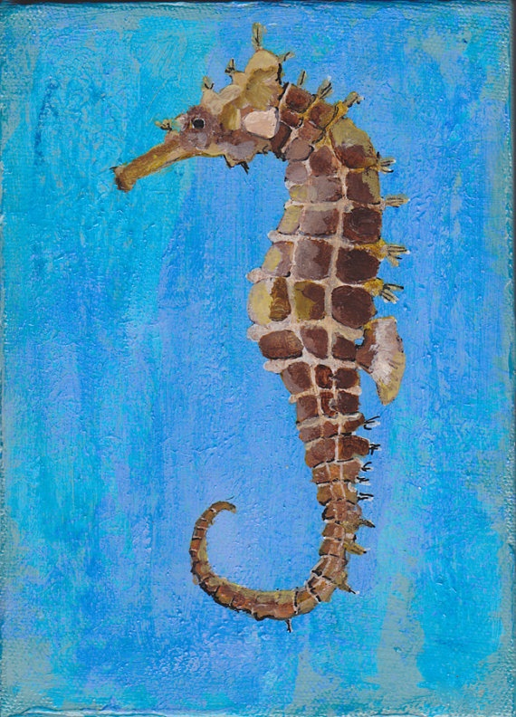 Seahorse  5x7 Hand Painting on Stretched Canvas by OlszewskiArt, $45.00