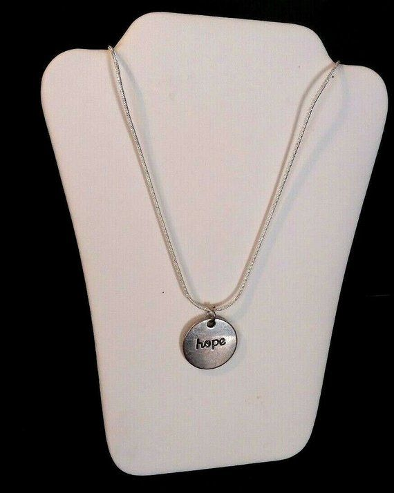 b3ef63fb2 Silver minimalist dove hope disc necklace, 20