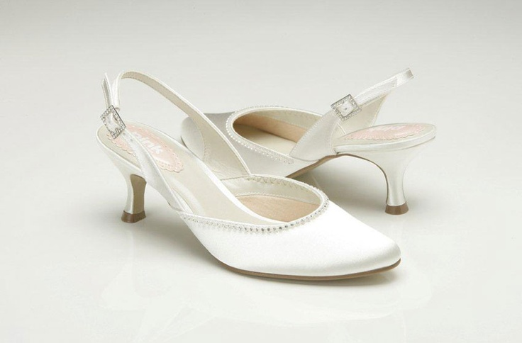 Spring   5.5cm Sizes 36-42. Dyeable ivory satin. Swarovski trim. Made by PINK of London for the UK and European market.