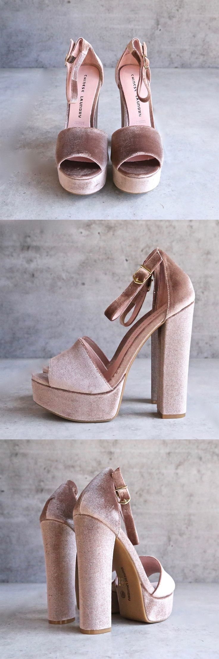 - Captivate an audience in the stunning Chinese Laundry™ Ace platform heel! - Velvet upper. - Ankle strap with buckle closure. - Open-toe silhouette. - Synthetic lining. - Lightly padded footbed. - Wr