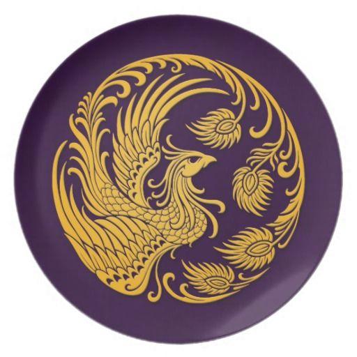 Traditional Yellow Phoenix Circle on Purple Dinner Plate