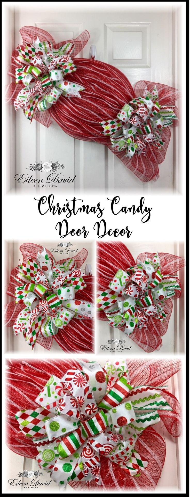 Christmas Candy wall decor, Christmas Decorations, red decor, Christmas wreaths,