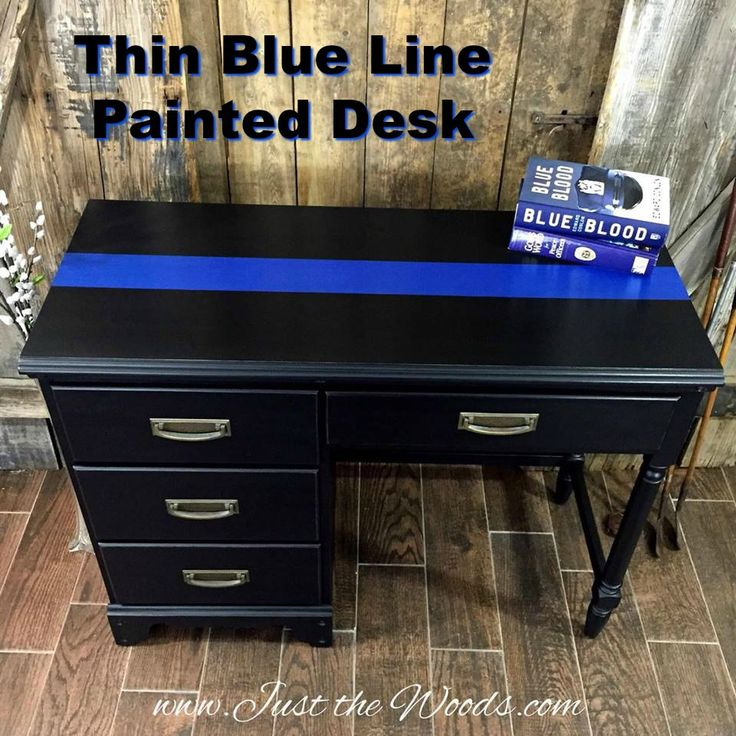 Hand Painted Thin Blue Line Desk By Just The Woods