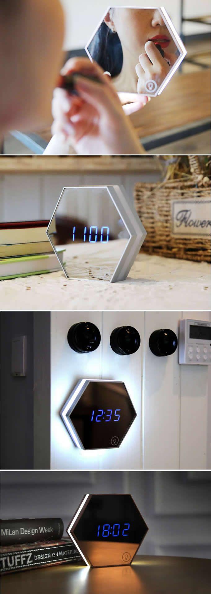 LED Night Light Digital Alarm Clock with Mirror-Finished Display