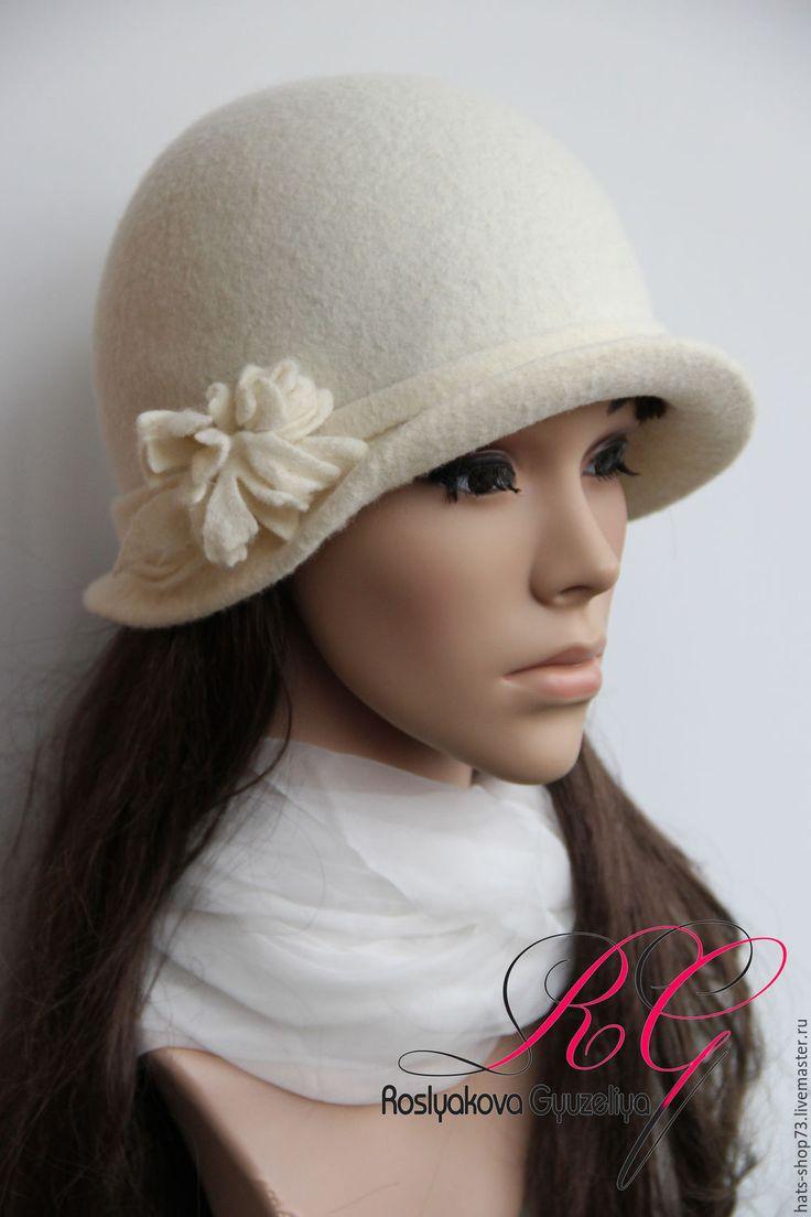 Купить Валяная шляпка Lady Charm - белый, однотонный, валяная шляпка, шляпа женская