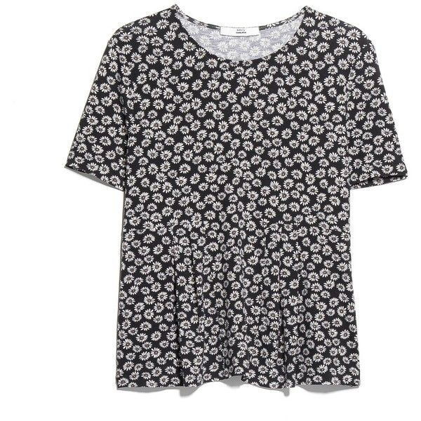 MANGO Pleated Floral T-Shirt ($15) ❤ liked on Polyvore featuring tops, t-shirts, shirts, t shirts, mango t shirt, short sleeve t shirts, flower print t shirt, short sleeve shirts and floral shirt