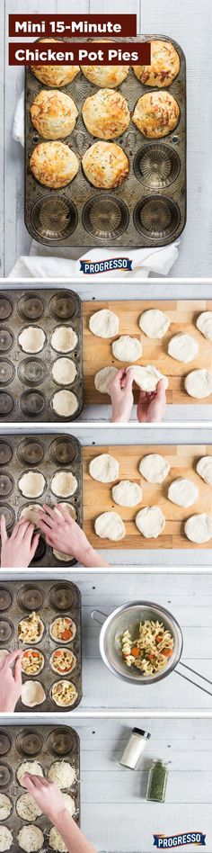 Mini 15-Minute Chicken Pot Pies made with Progresso Chicken Noodle Soup and Pillsbury Grands! Flaky Layers biscuits!