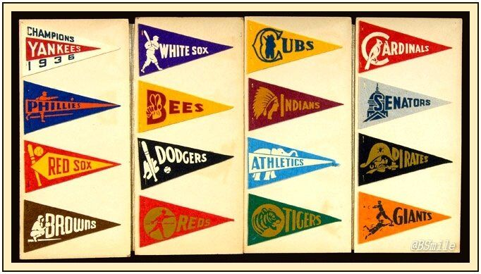 """1937 ""Red Ball Gum"" Baseball Pennants - All 16 MLB teams, including the St. Louis Browns & the Boston Bees (Braves)!"""