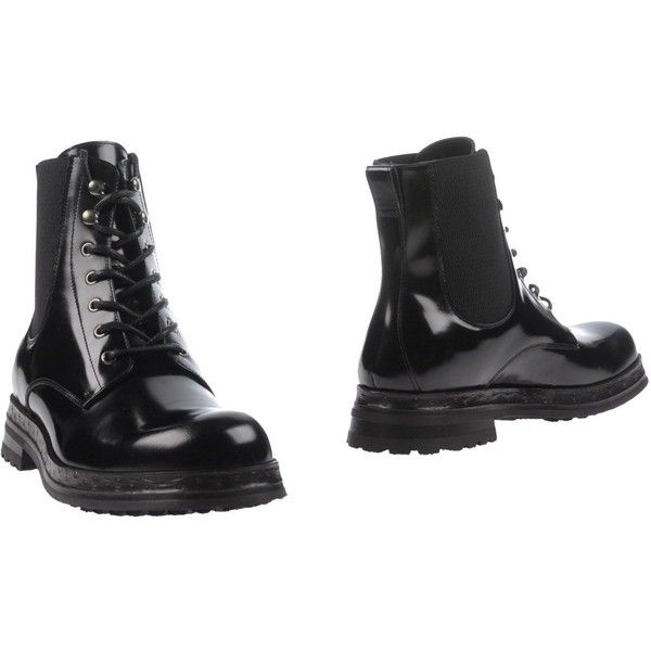 Dolce & Gabbana Ankle Boots (2.120 BRL) ❤ liked on Polyvore featuring men's fashion, men's shoes, men's boots, black, mens leather boots, mens leather ankle boots, mens round toe shoes, mens black boots and mens leather military boots