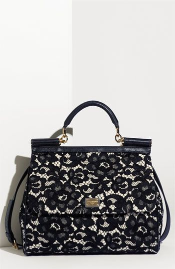 Dolce & Gabbana: Black Lace, Birthday Presents, Lambskin Leather, Design Handbags, Leather Tops, Tops Handles, Dolce & Gabbana, Sicily Lace, Handles Satchel