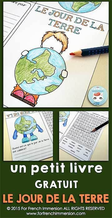 Jour de la Terre FREE - French Earth Day Mini-Book - le jour de la Terre en français - writing prompt and word search