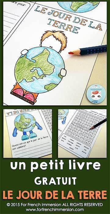 Jour de la Terre FREE - French Earth Day Mini-Book - le jour de la Terre en français - writing prompt and word search