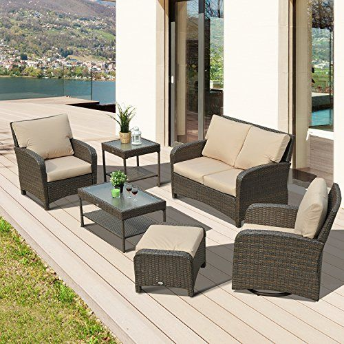 outsunny rattan sofa set garden wicker w ottoman yard outdoor patio wicker furniture 1 x love seat chair 1 x single chair 1 x rotatable single chair