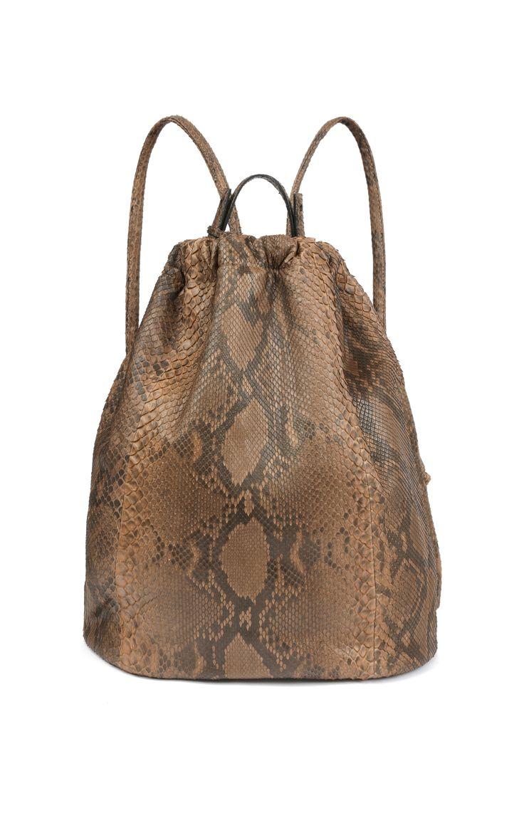 Jill Haber Sam Full Size Drawstring Backpack In Cocoa by Jill Haber for Preorder on Moda Operandi